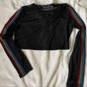 Rainbow Sleeve sheer black crop top